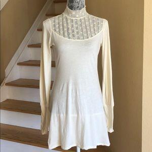 Free People Ivory Lace Mock Neck Dress